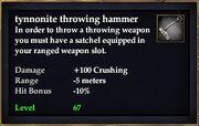 Tynnonite throwing hammer