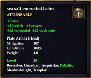 Sea salt encrusted helm