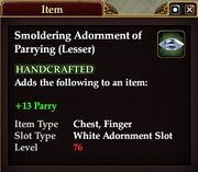 Smoldering Adornment of Parrying (Lesser)