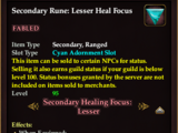 Secondary Rune: Lesser Heal Focus (2.5) (Version 1)