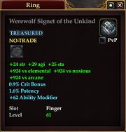 Werewolf Signet of the Unkind