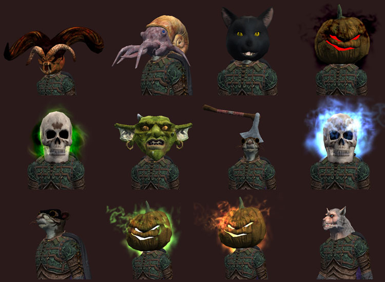 Mask Options As Of 2016 Top L To R Nightblood Amygdalan Black Cat Cursed Scarecrow Middle Row Skeleton Goblin Hatchet Infernal
