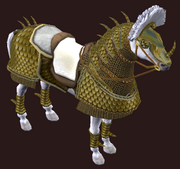 Golden War-Barded Parade Horse (Visible)