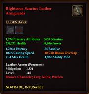 Righteous Sanctus Leather Armguards