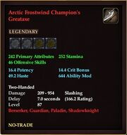 Arctic Frostwind Champion's Greataxe