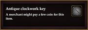 Antique clockwork key