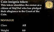Coin insignia token