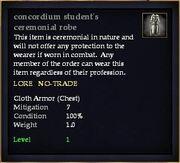 Concordium student's ceremonial robe
