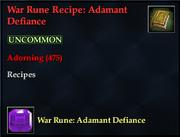 War Rune Recipe- Adamant Defiance