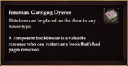 Foreman Garz'gog Dyeree (House Item)