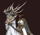 White Frosttail Reindeer (blue saddle)