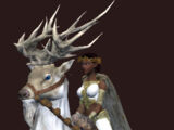 White Frosttail Reindeer (blue saddle)