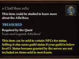 A Clotl'thoa relic