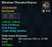 Rhenium Threaded Bracers