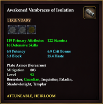Awakened Vambraces of Isolation