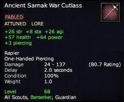 Ancient Sarnak War Cutlass