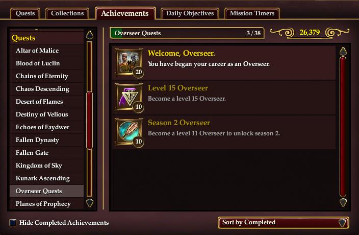 Achievements Overseer Quests