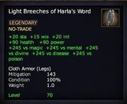 Light Breeches of Harla's Word