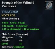Strength of the Velinoid Vambraces