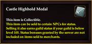 Castle Highhold Medal