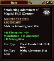 Smoldering Adornment of Magical Skill (Greater)