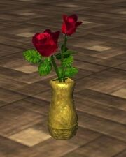 Red Roses in an Oval Vase (Visible)