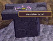 An ancient scroll on a pedestal
