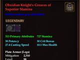 Obsidian Knight's Greaves of Superior Stamina (0 Gem)