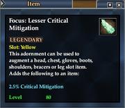 Focus- Lesser Critical Mitigation