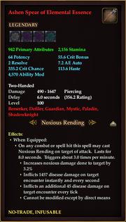 Ashen Spear of Elemental Essence