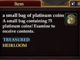 A small bag of platinum coins
