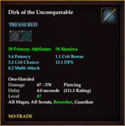 Dirk of the Unconquerable