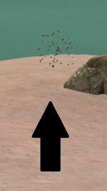 Black splash indicating a spawning scorpion point