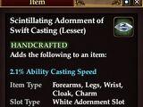 Scintillating Adornment of Swift Casting (Lesser)