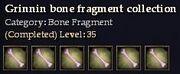 CQ grinnin bone fragment collection Journal