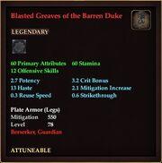 Blasted Greaves of the Barren Duke