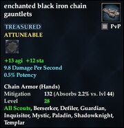 Enchanted black iron chain gauntlets