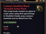 Common Deathfist Blood Threaded Armor Plans