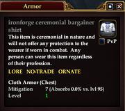 Ironforge ceremonial bargainer shirt