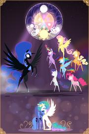 1385533 safe artist-colon-valcron applejack fluttershy nightmare moon pinkie pie princess celestia princess luna rainbow dash rarity twilight sparkle