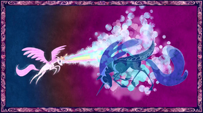 1778768 safe screencap nightmare moon princess celestia friendship is magic alicorn female magic mare pink-dash-mane celestia pony