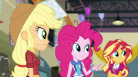 Pinkie pointing to where she saw Sci-Twi last EG3
