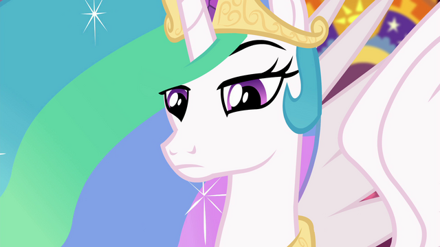File:Princess Celestia looking intently at Sunset EGFF.png
