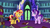 Sunset Shimmer looking embarrassed at Starlight EGS3