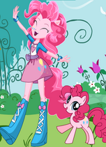 FANMADE EqG Pinkie with pony counterpart