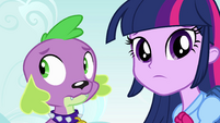 Twilight and Spike regard their new surroundings EG