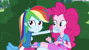 Rainbow Dash covers Pinkie's mouth EG3