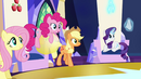 Fluttershy, Pinkie, AJ and Rarity look up in curiosity EG2