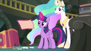 Twilight and Celestia look at the lost page EGFF