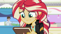Sunset looking worried at her journal cover EGS3